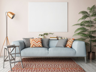 Mock up blank poster on the wall of living room, 3D rendering