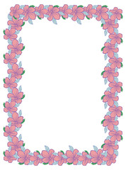 Color vertical frame with abstract flowers. Vector clip art.