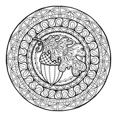 Circle autumn leaf ornament. Hand drawn art winter mandala. Made by trace from sketch.