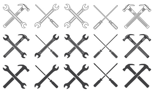 Wrenches, hammer and screwdriver thin line icons