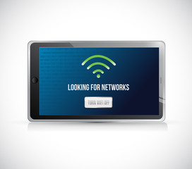 tablet looking for networks message sign concept