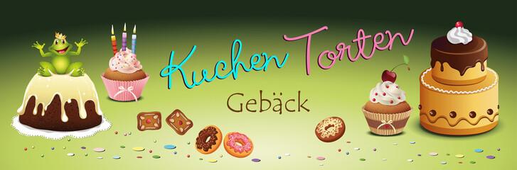 Kuchen Torten u Gebäck Banner Vektor Illustration