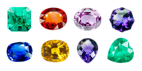 Bright gems isolated on white background Wall mural