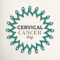 Cervical cancer day design made of ribbons