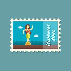 Hula Dancer Statuette stamp. Summer. Vacation