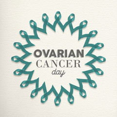 Ovarian cancer day awareness design made of ribbon