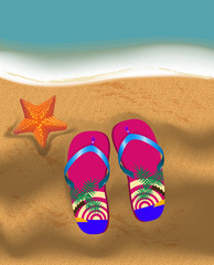 slippers and seastar on a sandy beach