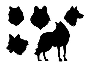 vector illustration wolf silhouette set on white background