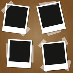 four Retro blank photography with a black place for your image in a photo album page. photo frame with shadow. Vector illustration