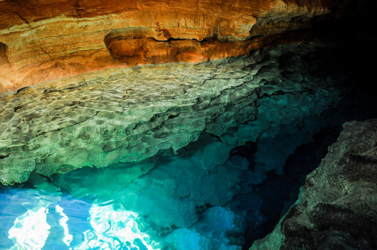 Blue Well, cave with blue lagoon in the Chapada Diamantina, Braz
