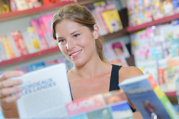 customer in the magazine shop