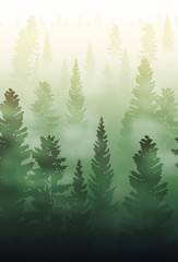 Acrylic Prints Olive misty forest landscape, foggy forest landscape