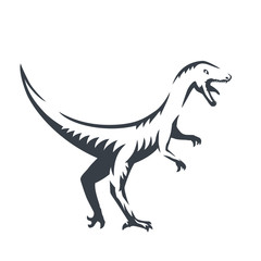 Velociraptor, raptorial dinosaur outline, vector illustration