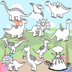 Vector Coloring Page of Line Art Dinosaurs and a Volcano