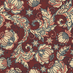 Elegance seamless pattern with ethnic flowers.
