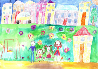Child's drawing happy family, building, car