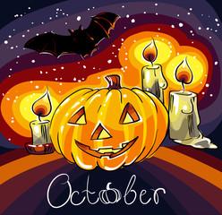 Smile pumpkin. Halloween composition. Hand drawn vector illustration