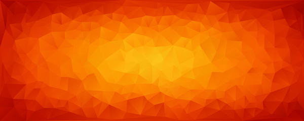 Vector Illustration - Bright abstract mosaic of yellow-orange triangles. Banner. Background.