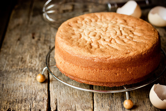Homemade ideal sponge cake on wooden table blank space for text