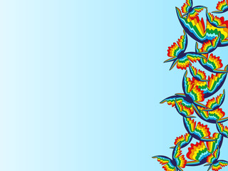 Abstract blue background with rainbow butterflies on the right side of the picture