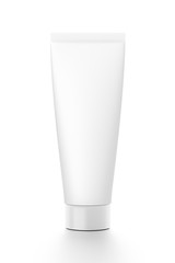 White vertical cosmetic cream tube from front angle.