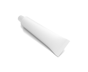 White horizontal cosmetic cream tube from top front angle.