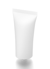 White vertical cosmetic cream tube from top side angle.