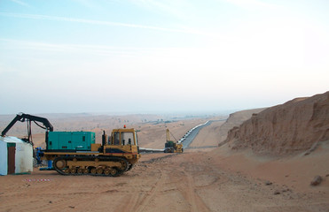 Equipment for construction of the oil pipeline