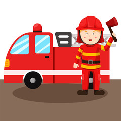 Illustration of fireman and Fire truck