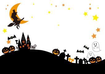 ハロウィン素材 風景シルエット 魔女