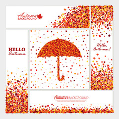 Autumn bright banners set with maple leaves, text, umbrella for different projects.