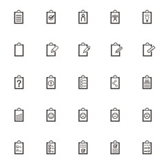 vector Record book set icons. Office equipment for planning and