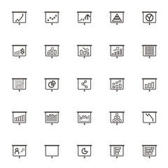 vector Business Graphs & Charts set icons. Office Operating prof