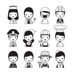 People Occupations Icons Set, Monochrome, Profession, Avatar, Worker, Job, Duty