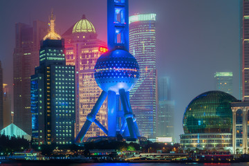 Shanghai oriental pearl tower in night at Shanghai, China.