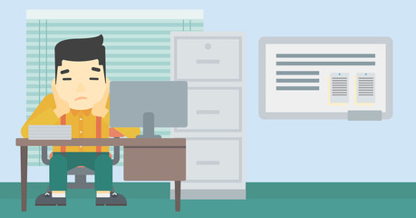 Tired man sitting in office vector illustration.