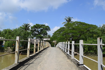 bridge go to river islet in Vietnamese countryside
