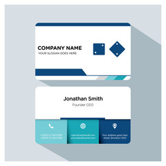 Business card template. dice icon