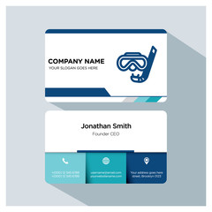 Business card template. swim icon