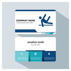 Business card template. Gymnastics icon