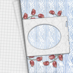Red tulips with notebook sheet on lace background