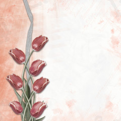 Red tulips on abstract background drawing for congratulation