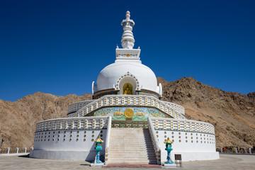 Tall Shanti Stupa, Peace Pagoda near Leh, Ladakh, India