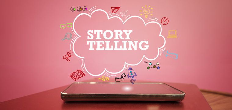 STORY TELLING over a smartphone on pink background , business co