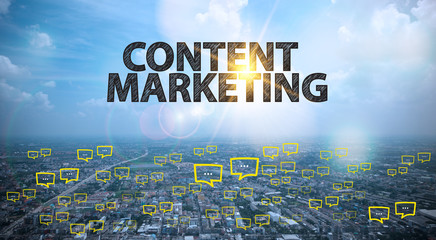 CONTENT MARKETING  text on city and sky background with bubble c