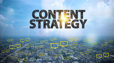 CONTENT STRATEGY text on city and sky background with bubble cha
