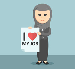 arab businesswoman with love job sign