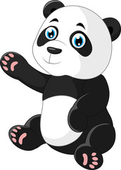 Cartoon panda waving hand