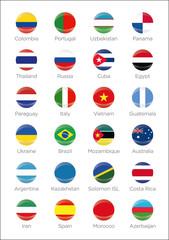 Symbole aller Futsal Teilnehmerländer der Weltmeisterschaft 2016 in Kolumbien