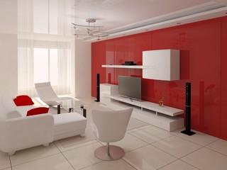 Modern design living room , interer hi-tech.